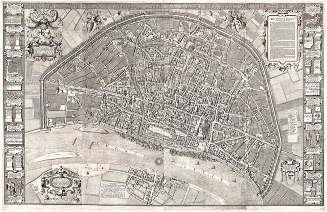 Carte de Cologne par Arnold Mercator, 1570