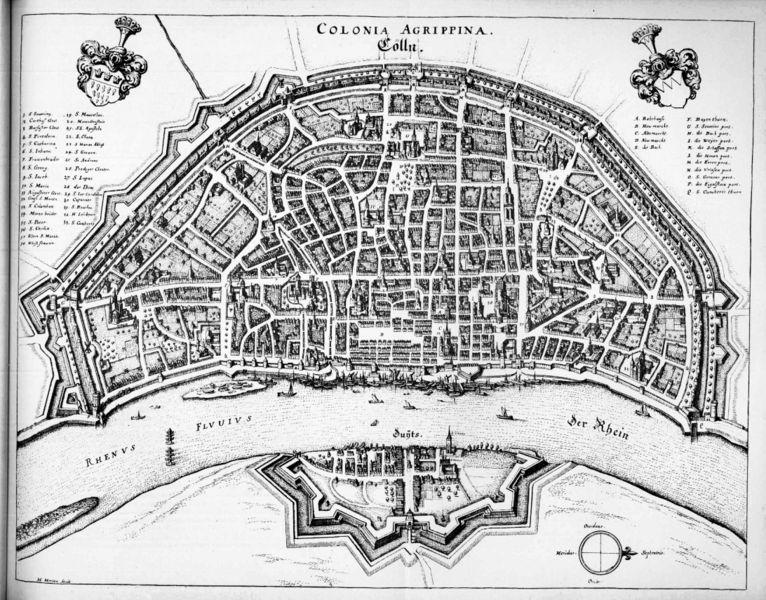Carte de Cologne par Mathieu Mérian, 1646
