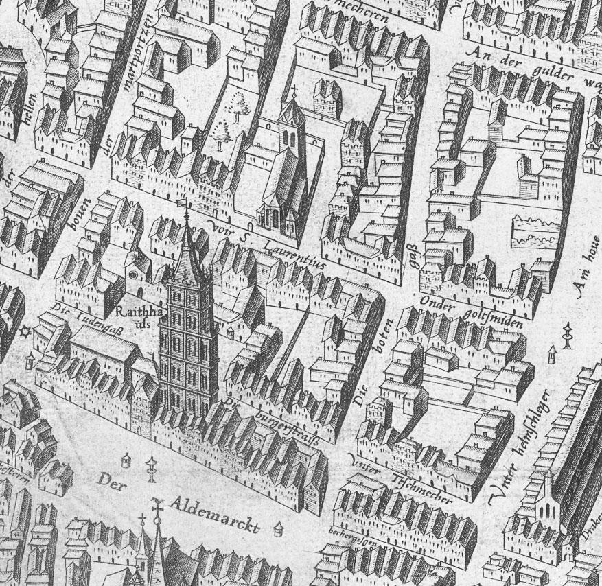 Le quartier juif sur le plan de Cologne de Mercator (1570).