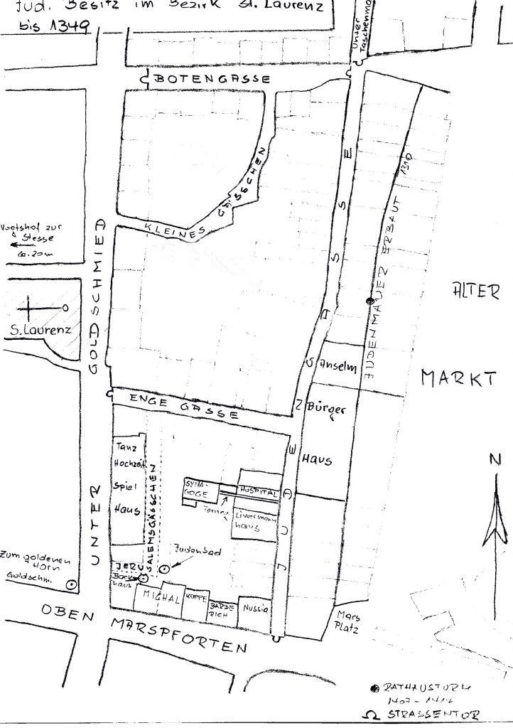 Plan à main levée du quartier juif de Cologne avant 1349
