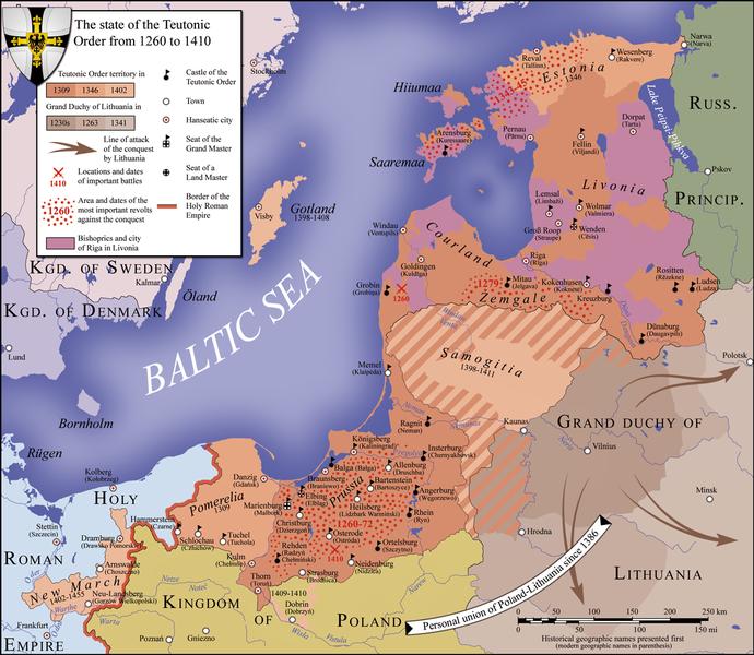 La Prusse teutonique en 1410